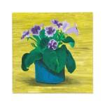 Blue Pot of Purple Flowers