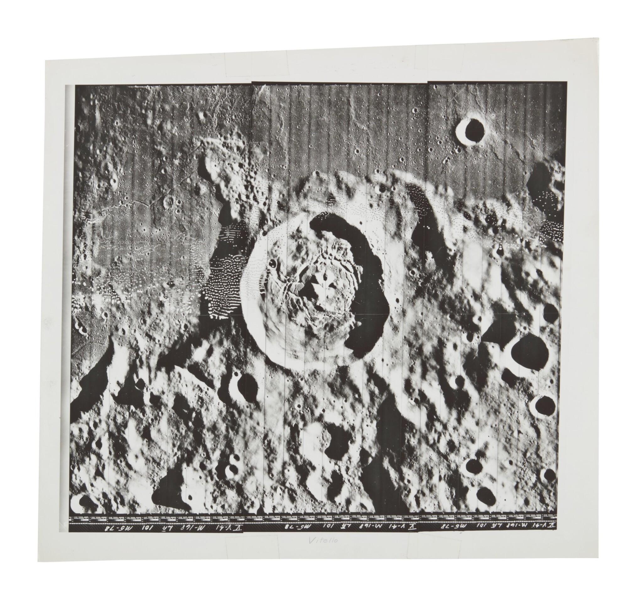 LUNAR ORBITER V. OVERHEAD VIEW OF CRATER VITELLO, 1967.