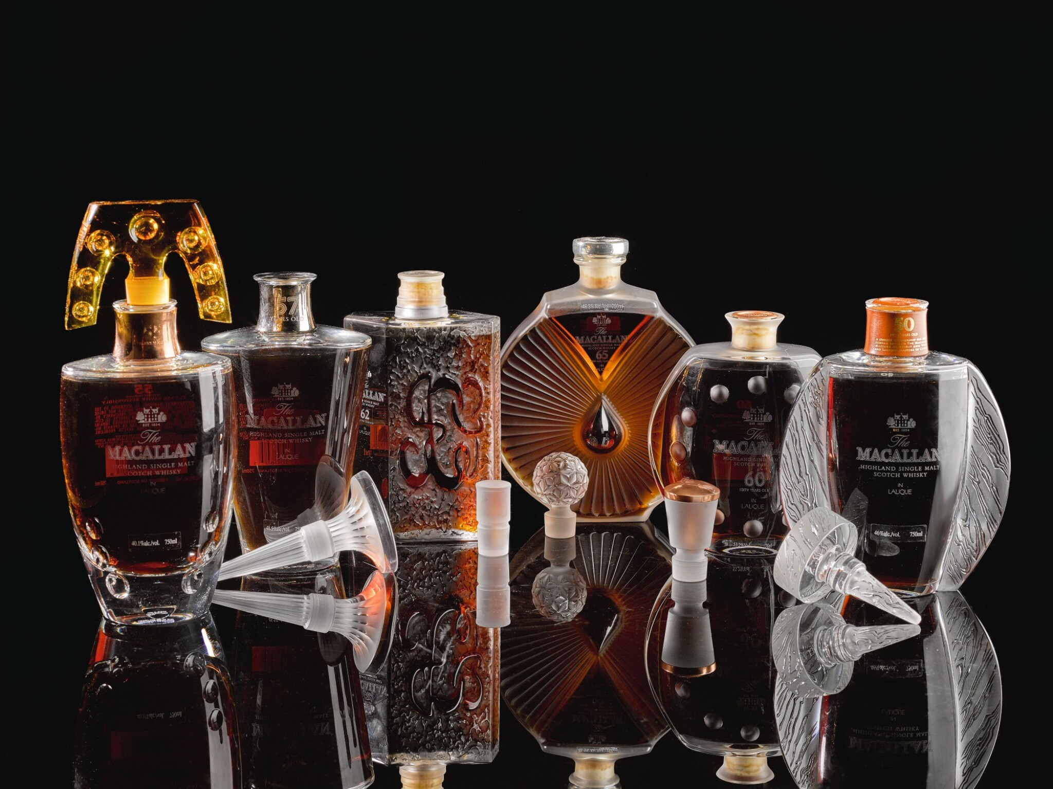 View full screen - View 1 of Lot 20. The Macallan In Lalique 6 Pillars Collection .