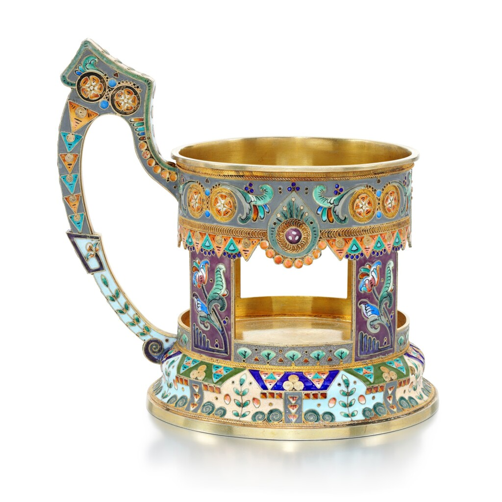 A SILVER-GILT AND CLOISONNÉ ENAMEL TEA GLASS HOLDER, ADRIAN IVANOV, MOSCOW, 1908-1917