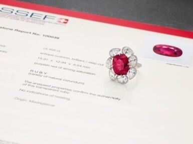 View 5. Thumbnail of Lot 1732. Ruby and Diamond Ring | 15.45克拉 天然「馬達加斯加」紅寶石 配 鑽石 戒指.