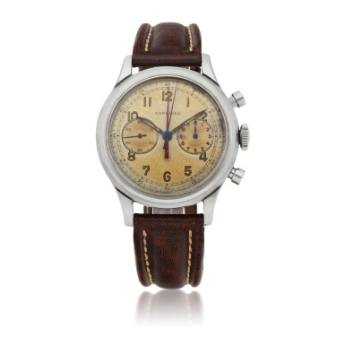 LONGINES   'DOUBLE HAND', REF 5699  STAINLESS STEEL CHRONOGRAPH WRISTWATCH   CIRCA 1945