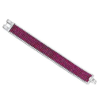 View 1. Thumbnail of Lot 79. Van Cleef & Arpels | Mystery-Set Ruby and Diamond Bracelet.