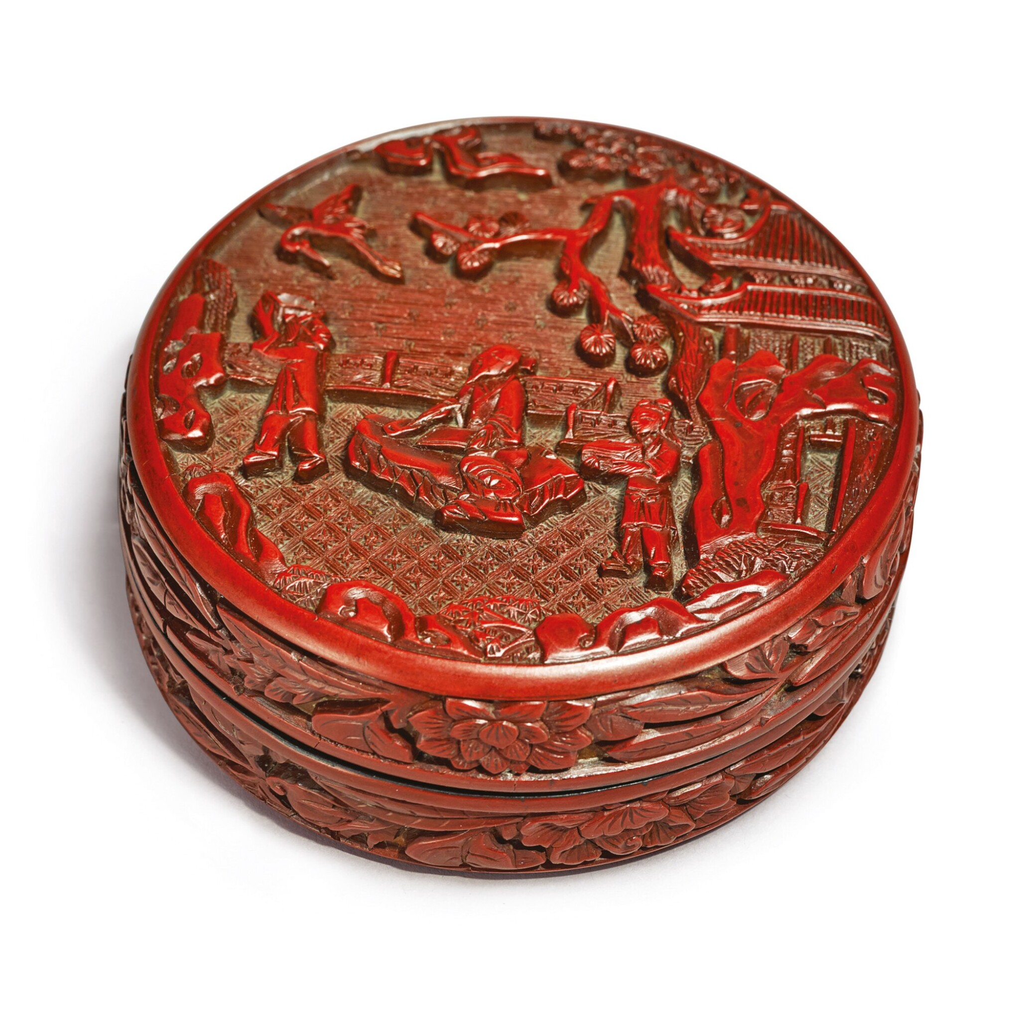 View full screen - View 1 of Lot 630. A SMALL CARVED CINNABAR LACQUER 'SCHOLAR' CIRCULAR BOX AND COVER,  XUANDE MARK AND PERIOD.