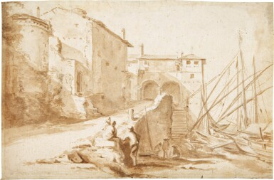 View 1. Thumbnail of Lot 48. View of the Ripa Grande, Rome.