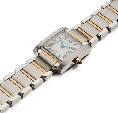View 2. Thumbnail of Lot 10. CARTIER | TANK FRANCAISE REF 2384, A LADY'S STAINLESS STEEL AND YELLOW GOLD WRISTWATCH WITH BRACELET CIRCA 2005.