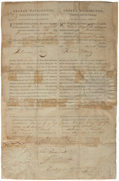 Washington, George. Three-language ship's papers signed, before 7 August 1794