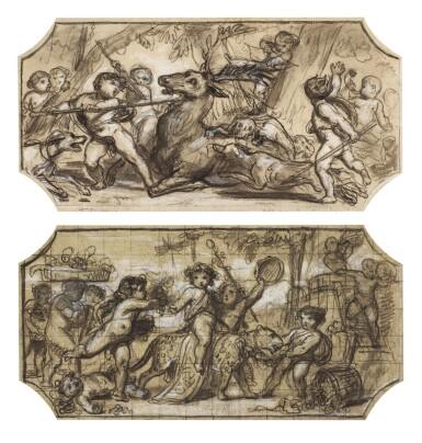 FÉLIX-JOSEPH BARRIAS | Two designs for the decoration of the Hôtel du Louvre, Paris A) Autumn: The Harvest B) Autumn: The Hunt