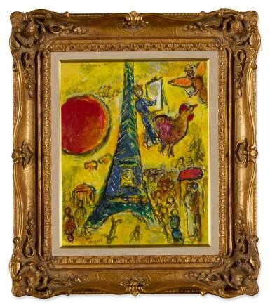 View 2. Thumbnail of Lot 26. La Tour Eiffel au soleil rouge.