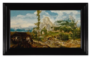 View 2. Thumbnail of Lot 17. An extensive mountainous landscape with a metal foundry, showing various stages of the production of iron and steel.