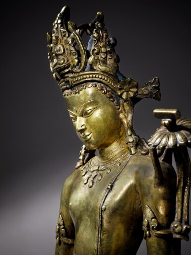 View 5. Thumbnail of Lot 326. An Important Copper Alloy Figure of Manjushri Central, Tibet, 12th/13th Century .