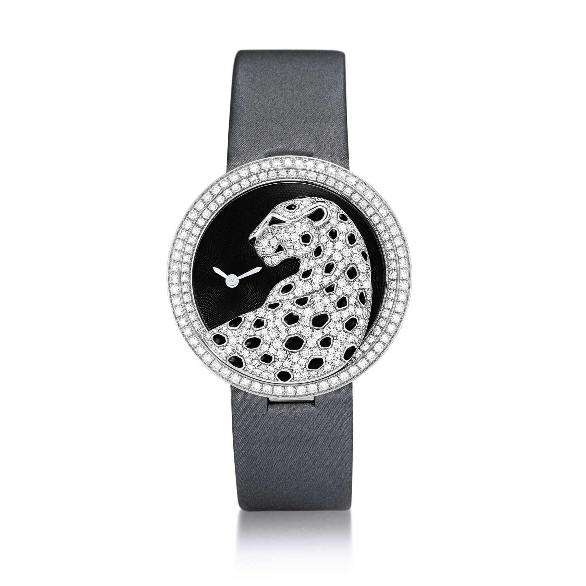 View full screen - View 1 of Lot 2058. Cartier   Panthère Divine, Reference 3607, A white gold, black enamel and diamond-set wristwatch, Circa 2013   卡地亞   Panthère Divine 型號3607 白金鑲黑色琺瑯及鑽石腕錶,約2013年製.
