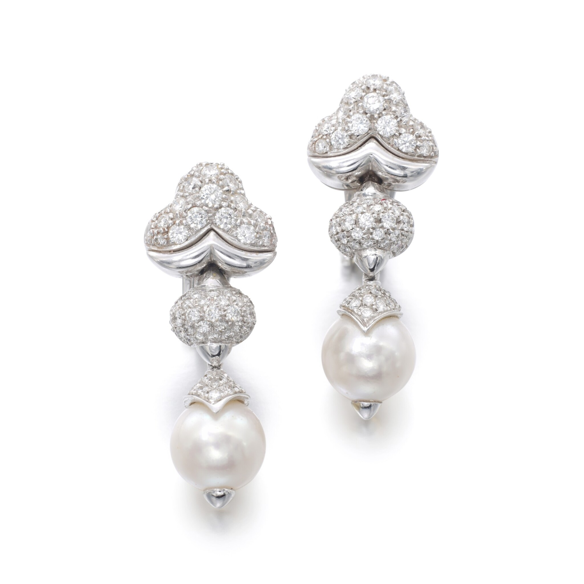 View full screen - View 1 of Lot 1150. Pair of cultured pearls and diamond ear clips.
