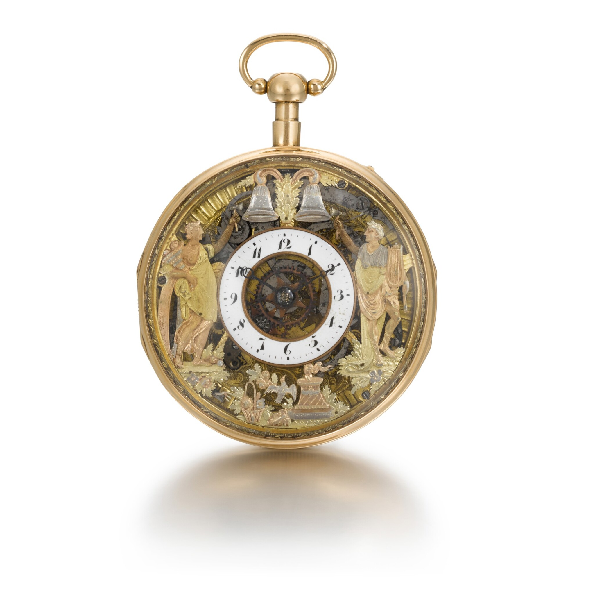 View full screen - View 1 of Lot 286. ROMILLY & COMPE   A GOLD QUARTER REPEATING AUTOMATON WATCH WITH JACQUEMARTS, CIRCA 1790 NO. 5089.