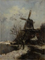 Windmill by a Stream in Winter