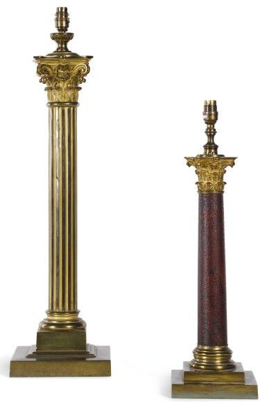 A BRASS COLUMNAR TABLE LAMP