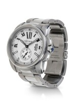 CARTIER   CALIBRE DE CARTIER, REFERENCE 3389, STAINLESS STEEL WRISTWATCH WITH DATE AND BRACELET, CIRCA 2011