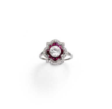 View 1. Thumbnail of Lot 49. Ruby and diamond ring [Bague rubis et diamants], 1930s [vers 1930].