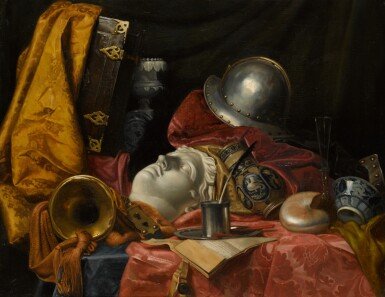 CIRCLE OF JEAN BAPTISTE HUET | Still life with a helmet, an antique bust, a quill and ink pot and other objects on a silk-draped ledge