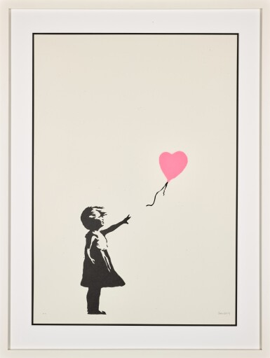 View 2. Thumbnail of Lot 13. BANKSY | GIRL WITH BALLOON - COLOUR AP (DARK PINK).