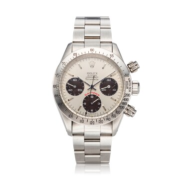 View 1. Thumbnail of Lot 217. Reference 6265 'Big Red' Daytona Retailed by Tiffany & Co.: A stainless steel chronograph wristwatch with bracelet, Circa 1979.