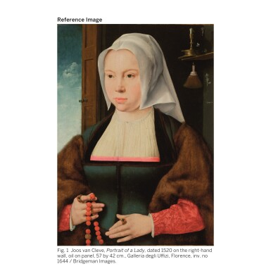 View 5. Thumbnail of Lot 509. ATTRIBUTED TO JOOS VAN CLEVE | PORTRAIT OF A LADY HOLDING A ROSARY AND A FLOWER.