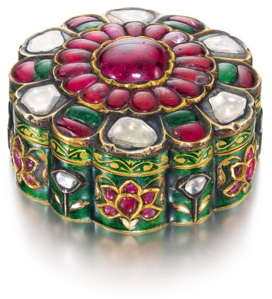 A GEM-SET AND ENAMELLED BOX, NORTH INDIA, CIRCA 1900
