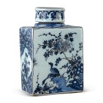 A DUTCH DELFT BLUE AND WHITE RECTANGULAR TEA CANISTER AND COVER, CIRCA 1690-1700
