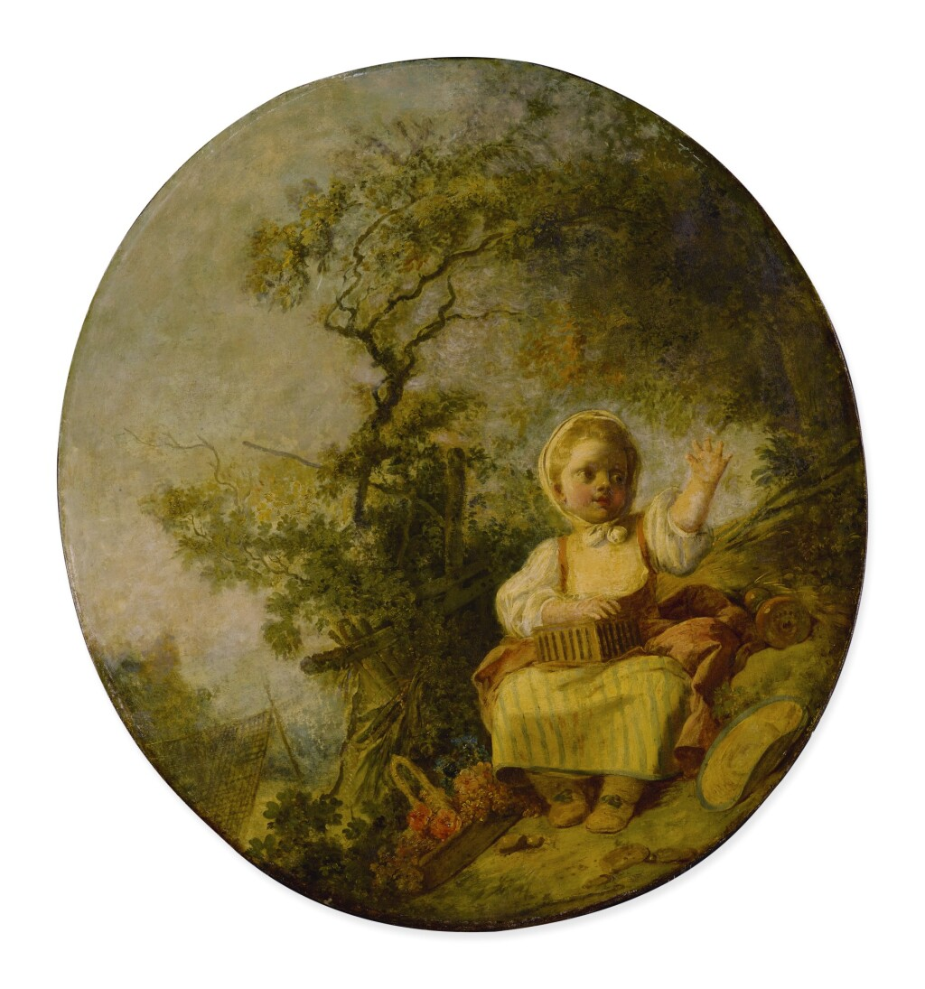 JEAN-HONORÉ FRAGONARD     GIRL WITH A BIRDCAGE SEATED IN A LANDSCAPE