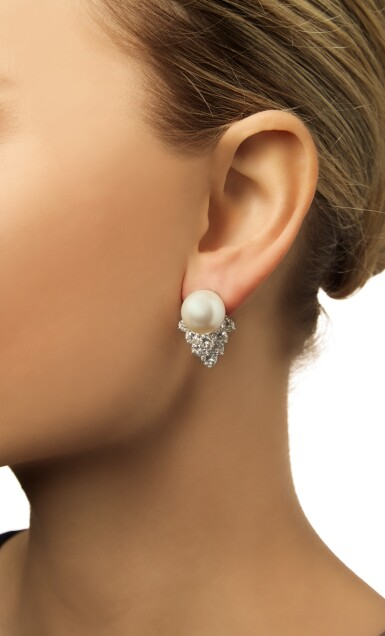 View 2. Thumbnail of Lot 363. PAIR OF CULTURED PEARL AND DIAMOND EARCLIPS.