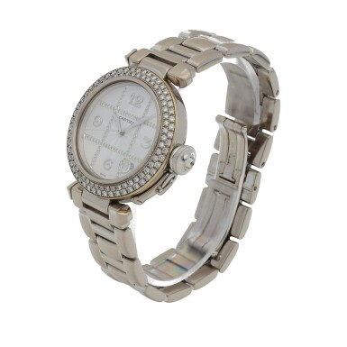 View 2. Thumbnail of Lot 472. Pasha, Ref. 2308 White gold and diamond-set wristwatch with date and bracelet Circa 2000   卡地亞 2308型號「Pasha」白金鑲鑽石鍊帶腕錶備日期顯示,年份約2000.