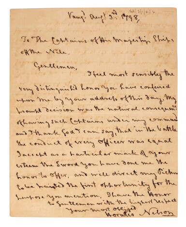 View 1. Thumbnail of Lot 91. NELSON   Autograph letter signed, to Captains of Egyptian Club, 1798.