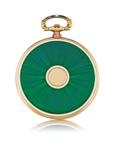 View 2. Thumbnail of Lot 12. SWISS   YELLOW GOLD AND ENAMEL OPEN-FACED KEYLESS WATCH, CIRCA 1915.