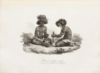 """View 1. Thumbnail of Lot 37. ARAGO (Jacques). Atlas pour """"Promenade autour du monde"""" [1822]. Petit in-folio 1/2 basane verte."""
