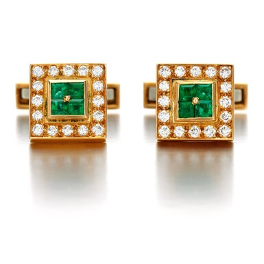 View 1. Thumbnail of Lot 69. Pair of emerald and diamond cufflinks.