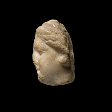 View 2. Thumbnail of Lot 93. A Hellenistic Marble Head of a Goddess, circa 2nd/1st Century B.C..