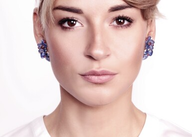 View 4. Thumbnail of Lot 71. Pair of sapphire, ruby and diamond ear clips, Michele della Valle.