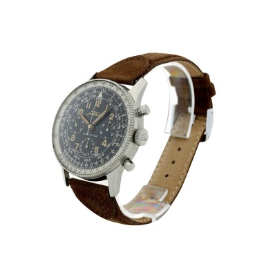 View 2. Thumbnail of Lot 81. NO REFERENCE AOPA NAVITIMER A RARE AND EARLY STAINLESS STEEL CHRONOGRAPH WRISTWATCH, MADE IN 1955.