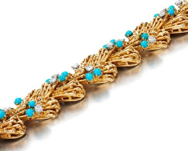 View 4. Thumbnail of Lot 115. TURQUOISE AND DIAMOND BRACELET, CARTIER, 1960S.