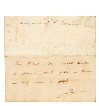 View 1. Thumbnail of Lot 16. F. Chopin. Autograph note to his pupil the young prodigy Carl Filtsch, about his concert in Paris [April 1843].