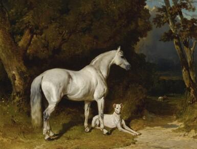 View 1. Thumbnail of Lot 867. Alfred De Dreux | ETALON GRIS ET LÉVRIER (COUCHÉ AU BORD DE L'ALLÉE).
