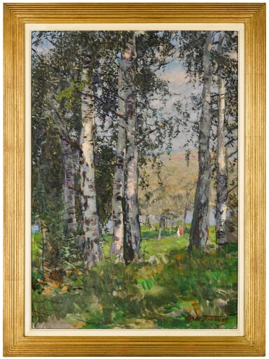View 2. Thumbnail of Lot 159. Strollers in the Birch Forest.