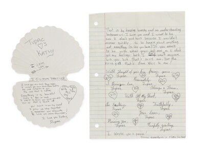 View 2. Thumbnail of Lot 89. TUPAC SHAKUR | An archive of 22 love letters from Shakur to a high school sweetheart, 1987-88.