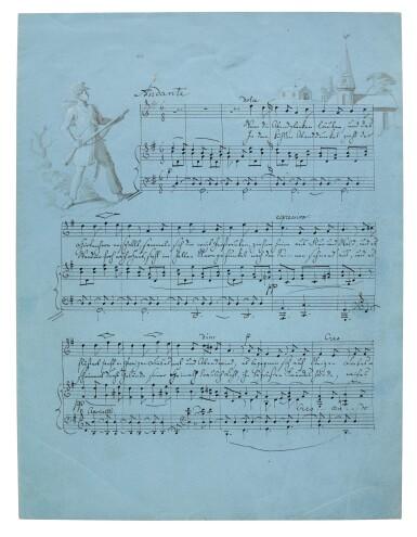 "View 1. Thumbnail of Lot 57. F. Mendelssohn. Fine illustrated autograph manuscript of the song ""Wenn die Abendglocken läuten"", 1830."