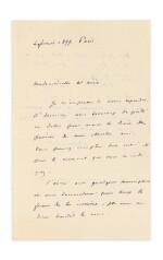 REDON, Odilon. Lettre autographe signée à Geneviève Mallarmé, 1899, sur le projet d'illustration des Poésies