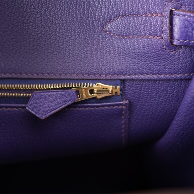 View 9. Thumbnail of Lot 19. Hermès Iris Birkin 35cm of Togo Leather with Gold Hardware.