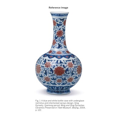 View 5. Thumbnail of Lot 544. A FINE AND EXCEPTIONALLY RARE UNDERGLAZE-BLUE AND COPPER-RED 'LOTUS' BOTTLE VASE,  QIANLONG SEAL MARK AND PERIOD.