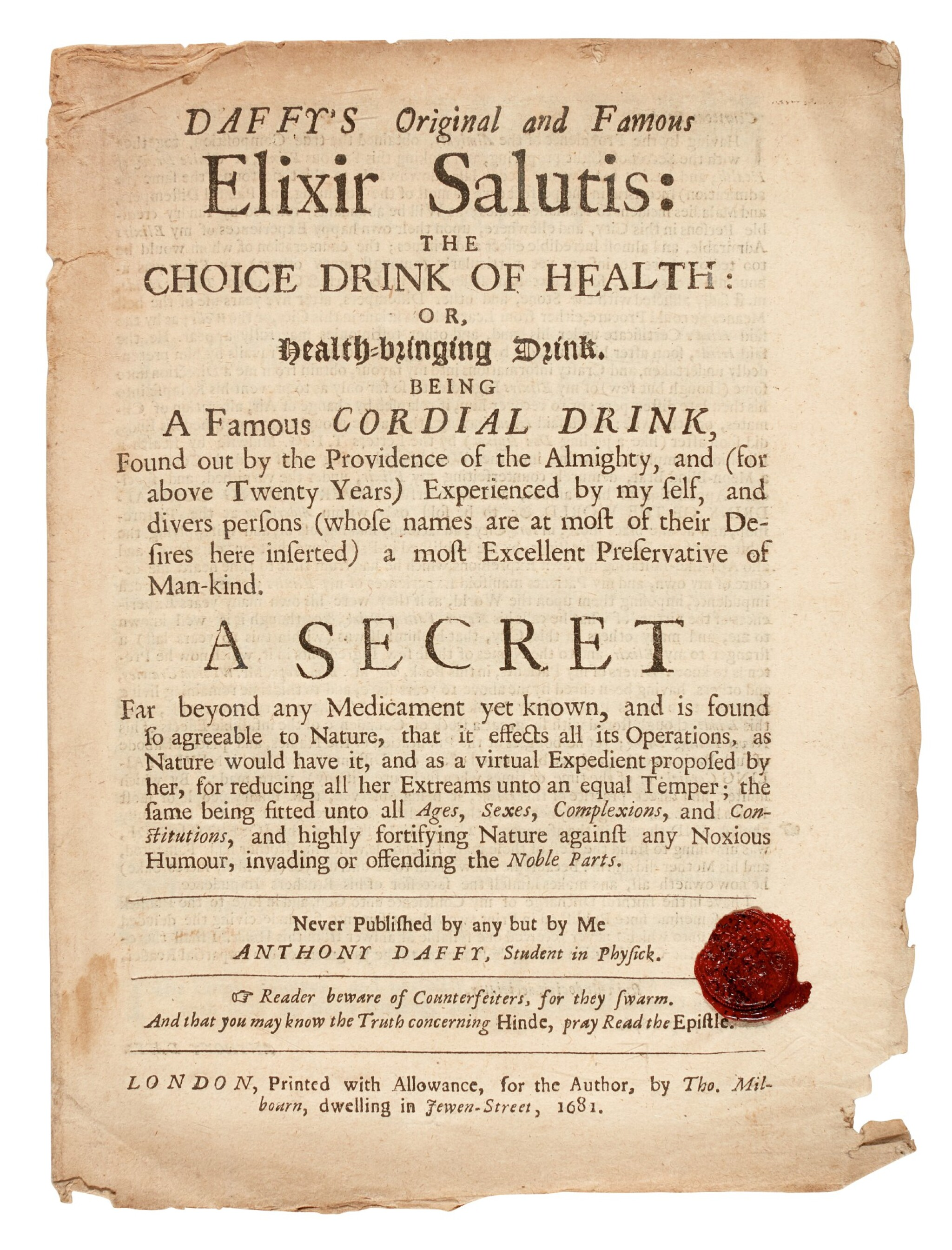View full screen - View 1 of Lot 22. DAFFY | Elixir Salutis, 1681, 2 pamphlets.