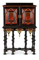 A Flemish Baroque gilt-metal mounted ebony, rosewood, tortoiseshell, ivory, inlaid and carved cabinet-on-stand, probably Antwerp, late 17th century