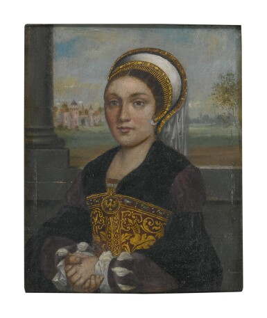 View 1. Thumbnail of Lot 60. Sold Without Reserve   MANNER OF HANS HOLBEIN, CIRCA 1900   PORTRAIT OF A LADY, HALF LENGTH, WITH AN ELABORATE FRENCH HOOD AND VEIL, FACING LEFT.